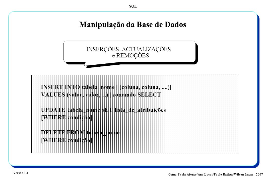 Manipulação da Base de Dados