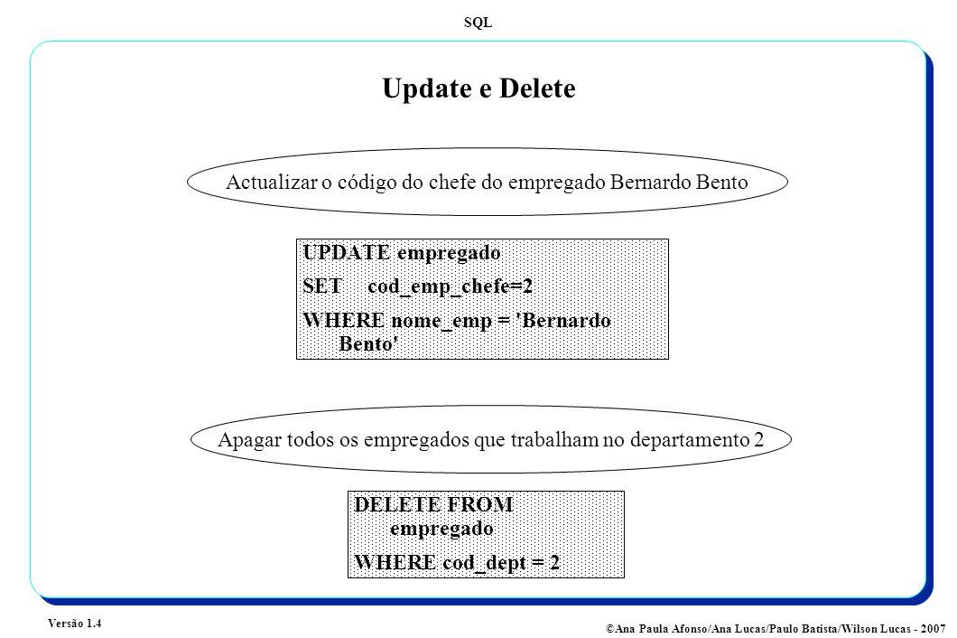 Update e Delete Actualizar o código do chefe do empregado Bernardo Bento. UPDATE empregado. SET cod_emp_chefe=2.