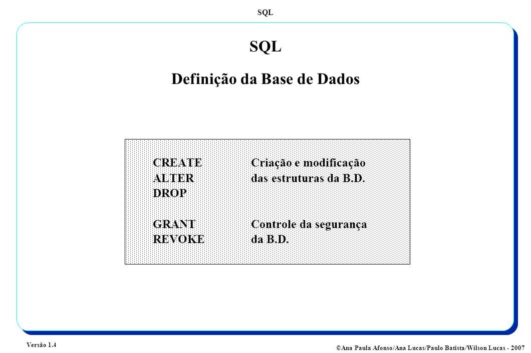 SQL Definição da Base de Dados