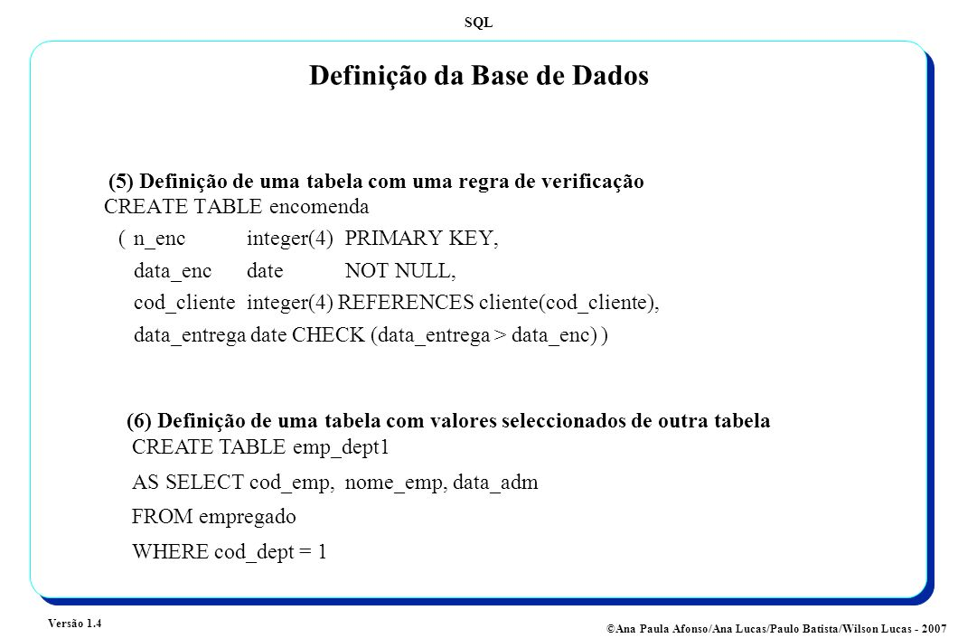 Definição da Base de Dados