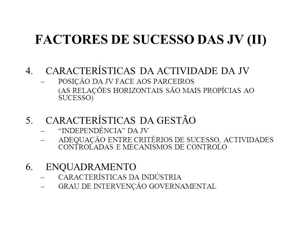 FACTORES DE SUCESSO DAS JV (II)