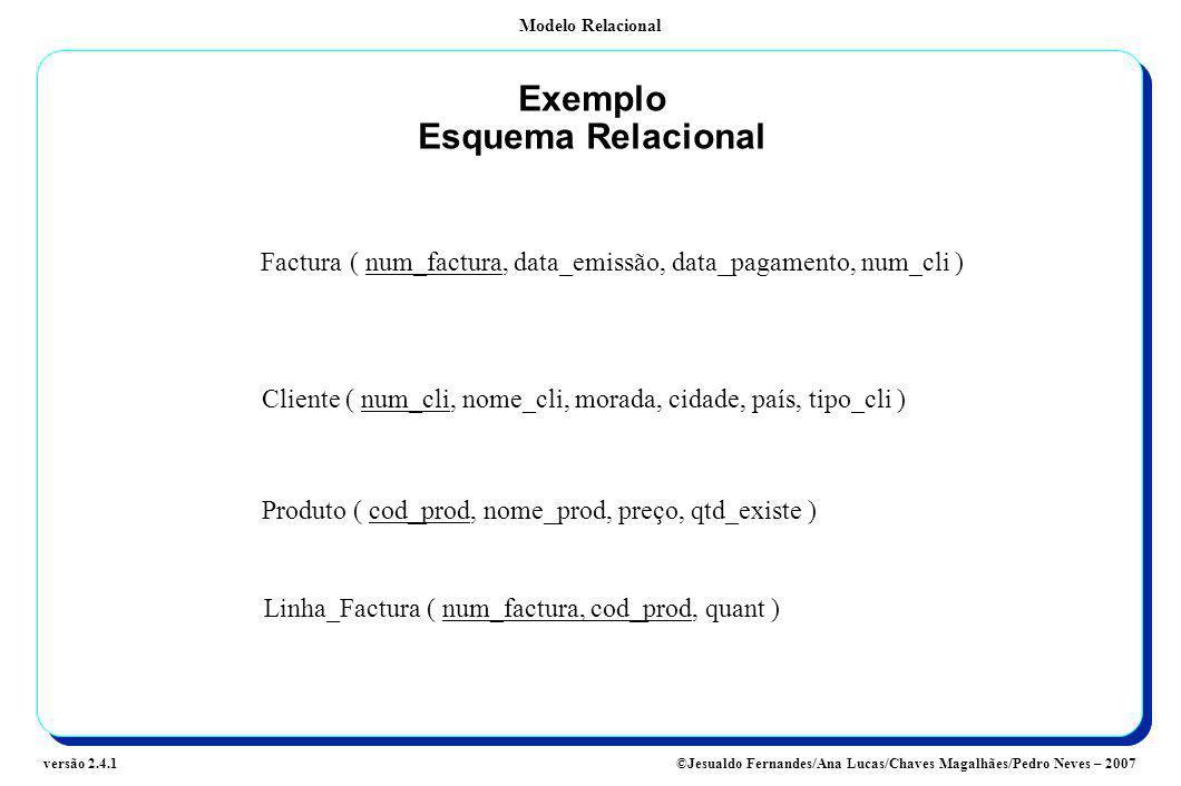 Exemplo Esquema Relacional