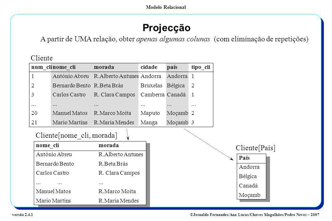 Projecção A partir de UMA relação, obter apenas algumas colunas (com eliminação de repetições) Cliente.