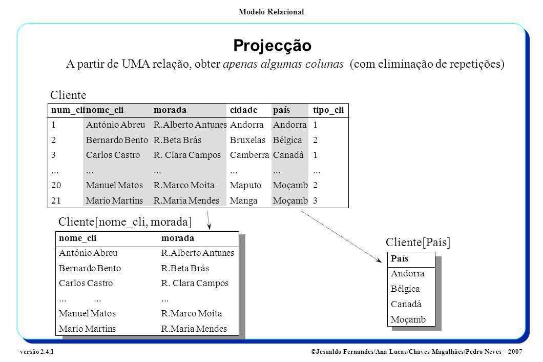 ProjecçãoA partir de UMA relação, obter apenas algumas colunas (com eliminação de repetições) Cliente.