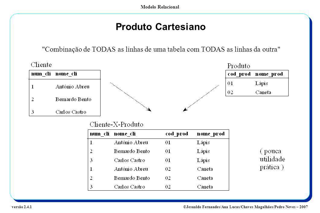 Produto Cartesiano Combinação de TODAS as linhas de uma tabela com TODAS as linhas da outra Referenciação de Colunas: