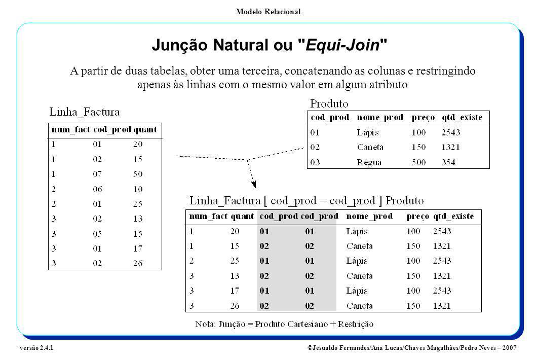 Junção Natural ou Equi-Join