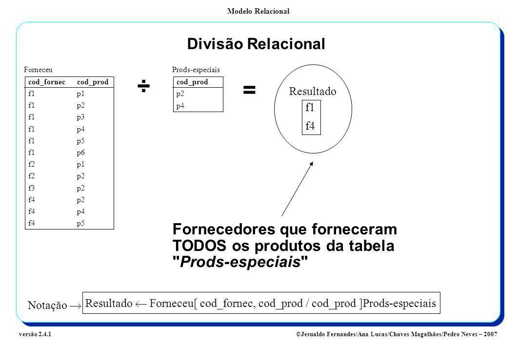 Divisão RelacionalForneceu. Prods-especiais. cod_fornec cod_prod. f1 p1. f1 p2. f1 p3. f1 p4. f1 p5.