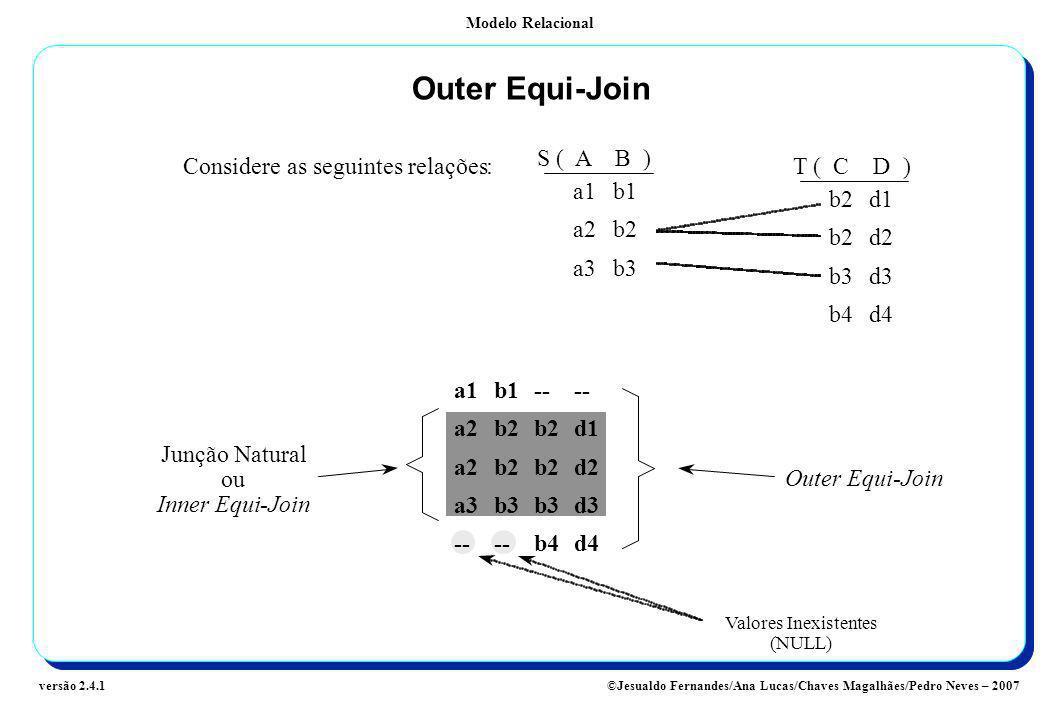 Outer Equi-Join S ( A B ) Considere as seguintes relações : T ( C D )