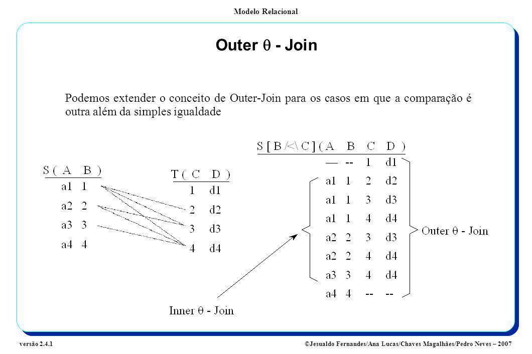 Outer q - Join Podemos extender o conceito de Outer-Join para os casos em que a comparação é outra além da simples igualdade.
