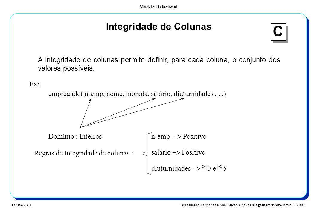 Integridade de Colunas