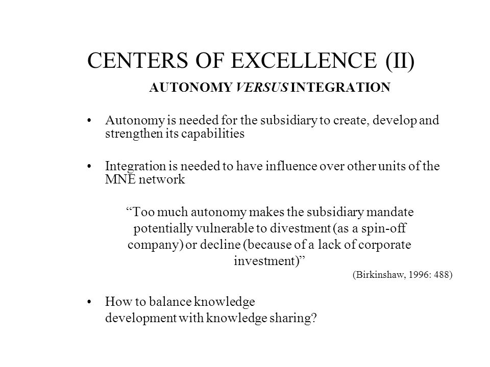 CENTERS OF EXCELLENCE (II)