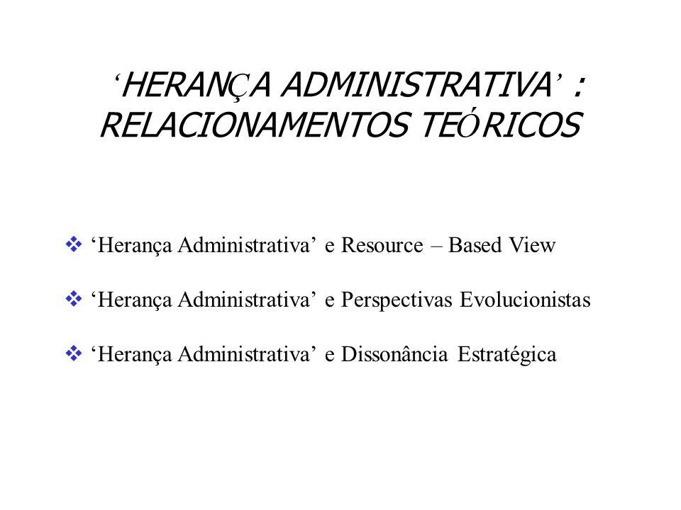 'HERANÇA ADMINISTRATIVA' : RELACIONAMENTOS TEÓRICOS
