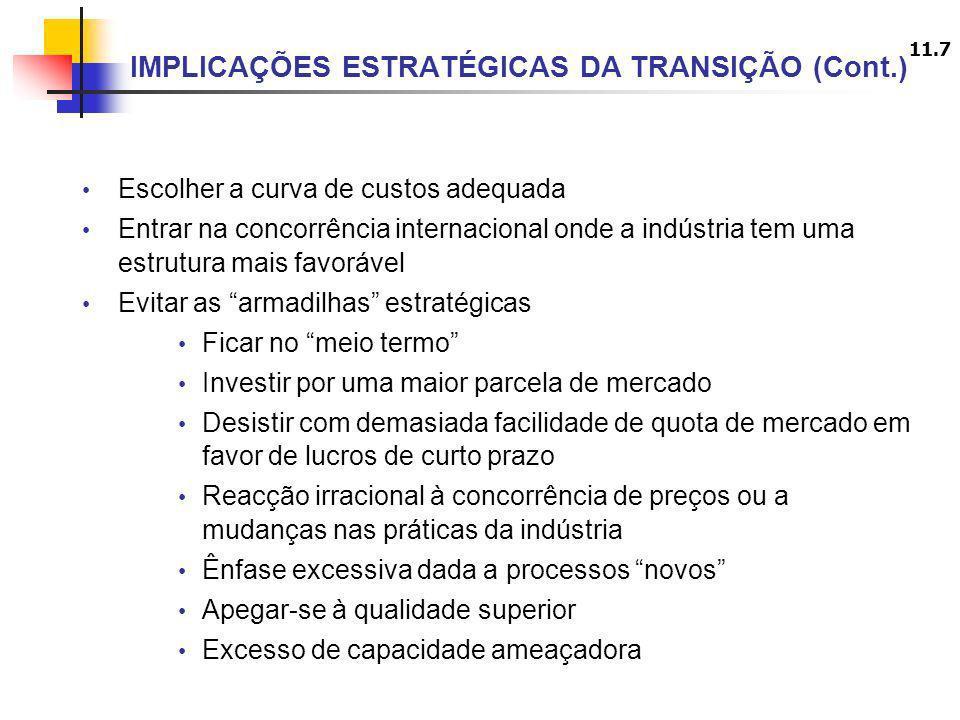 IMPLICAÇÕES ESTRATÉGICAS DA TRANSIÇÃO (Cont.)