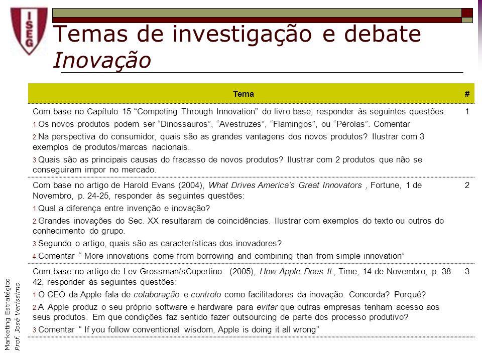 Temas de investigação e debate Inovação