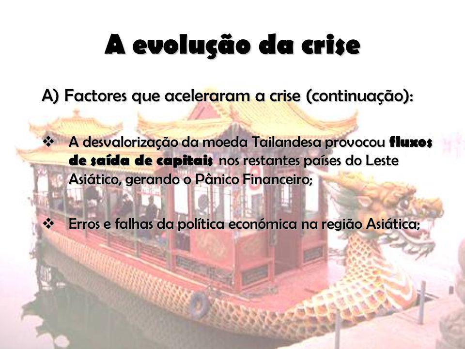 A evolução da crise A) Factores que aceleraram a crise (continuação):