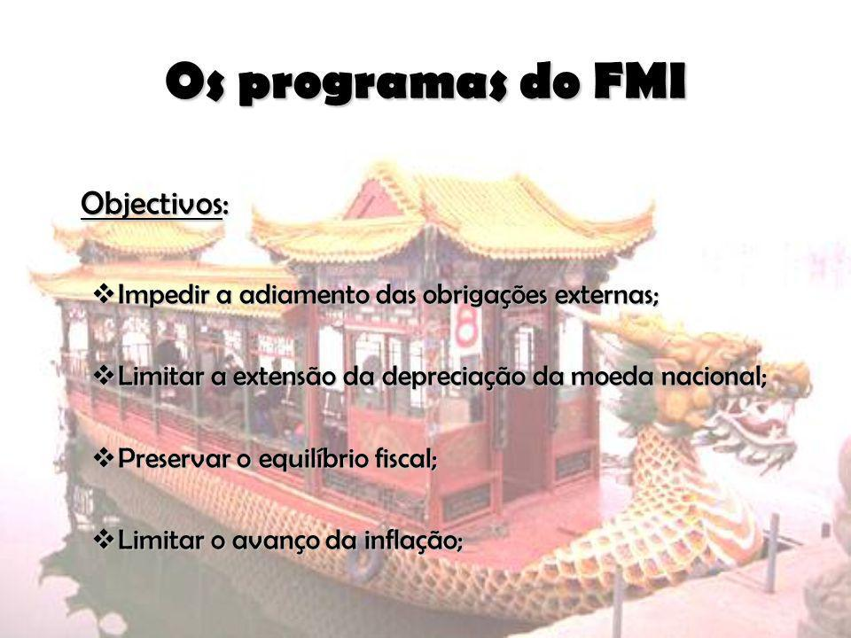 Os programas do FMI Objectivos: