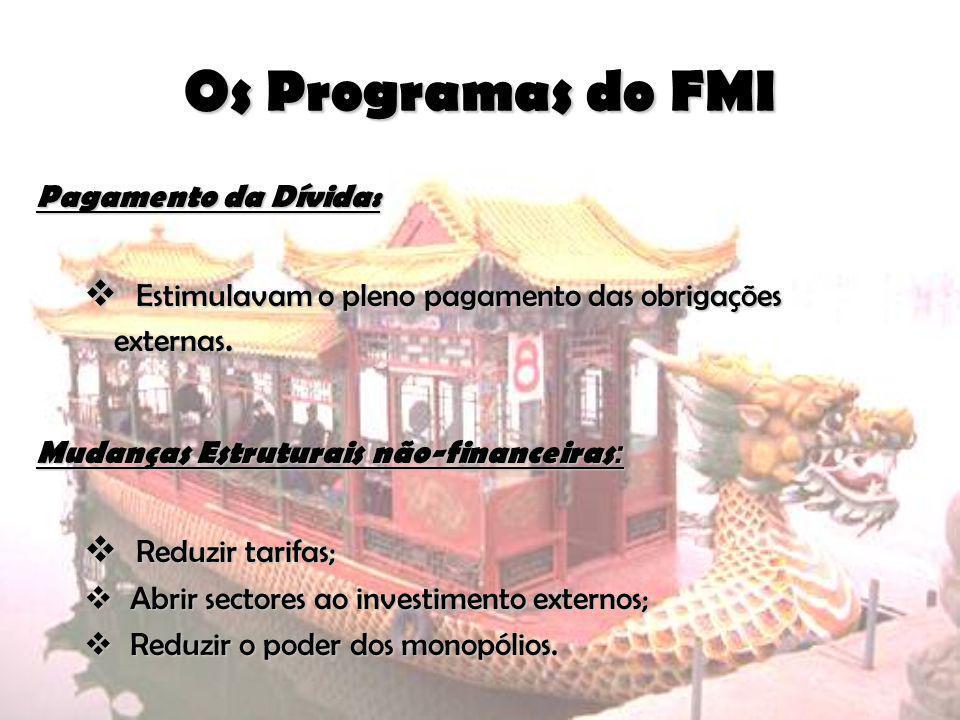 Os Programas do FMI Pagamento da Dívida: Estimulavam o pleno pagamento das obrigações externas. Mudanças Estruturais não-financeiras: