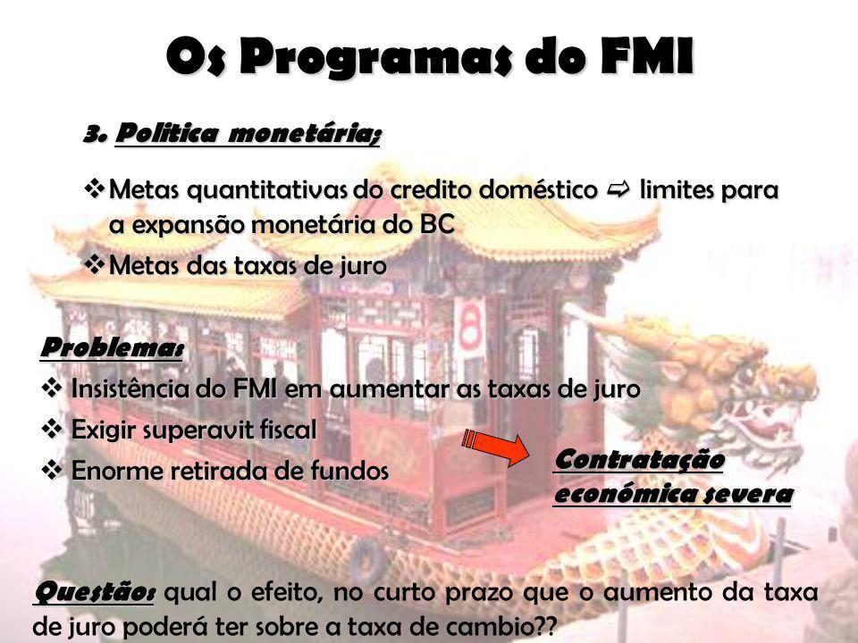 Os Programas do FMI Politica monetária;