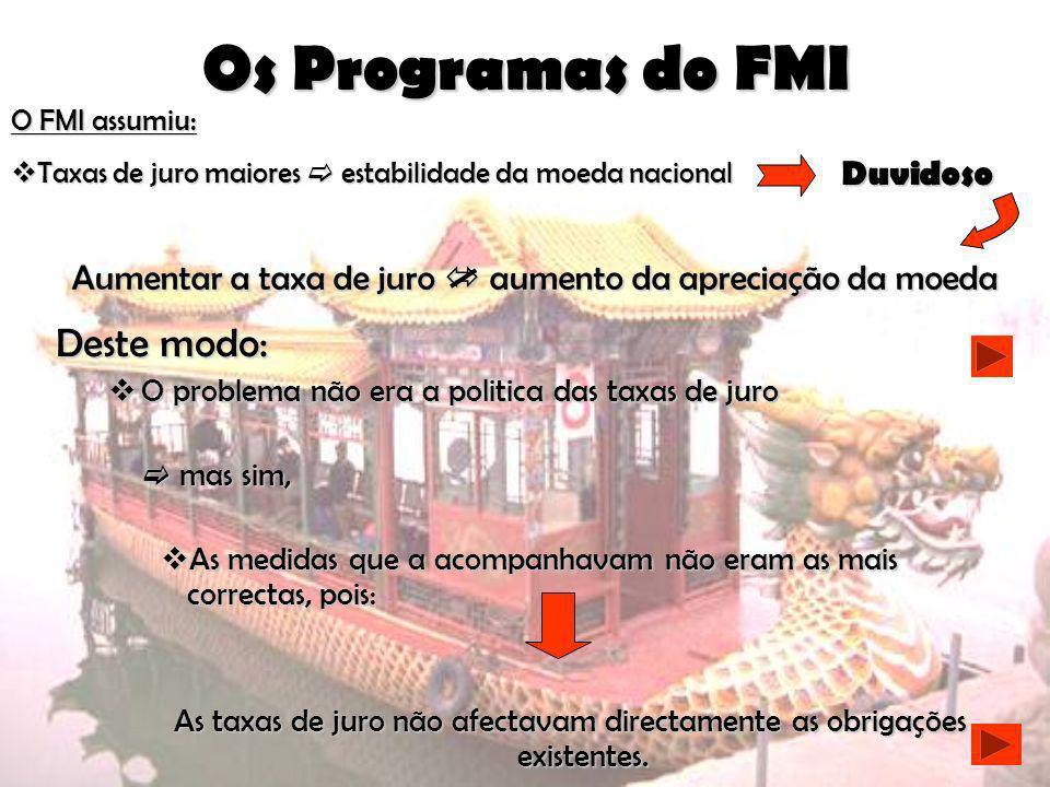 Os Programas do FMI Deste modo: Duvidoso