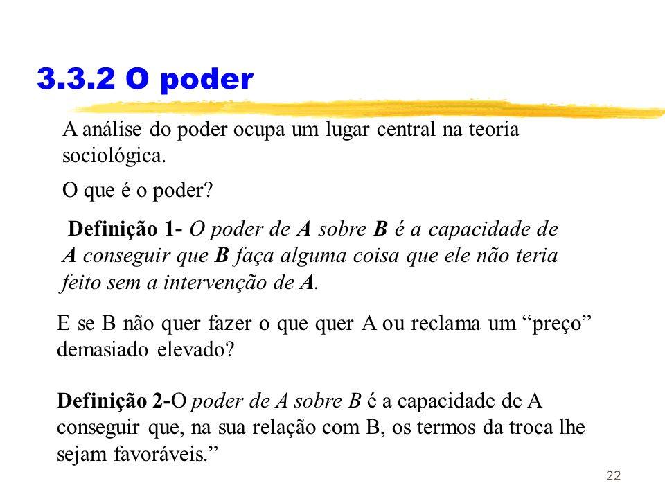3.3.2 O poder A análise do poder ocupa um lugar central na teoria sociológica. O que é o poder