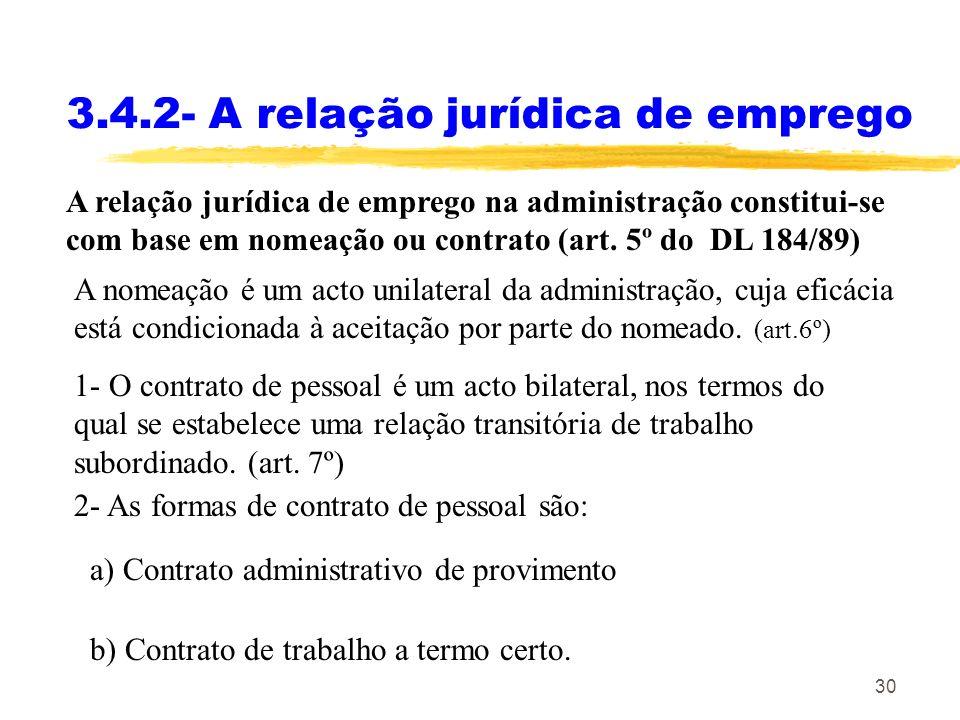 3.4.2- A relação jurídica de emprego
