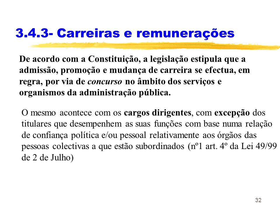 3.4.3- Carreiras e remunerações