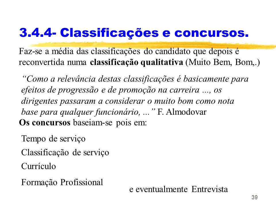 3.4.4- Classificações e concursos.