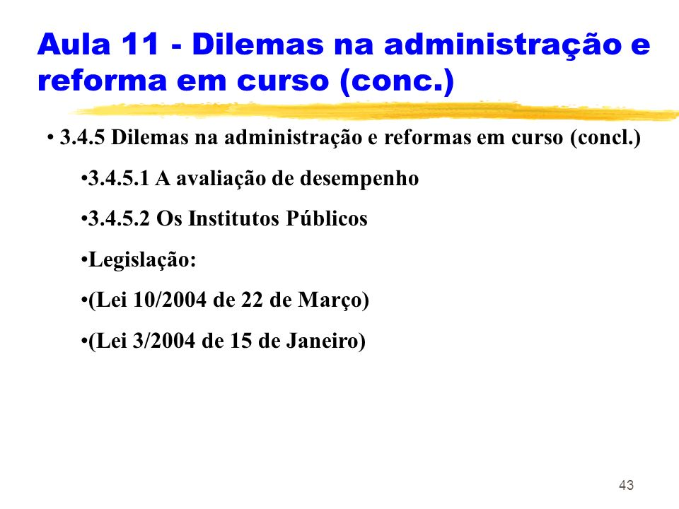 Aula 11 - Dilemas na administração e reforma em curso (conc.)
