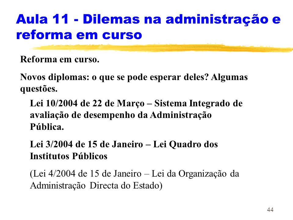 Aula 11 - Dilemas na administração e reforma em curso
