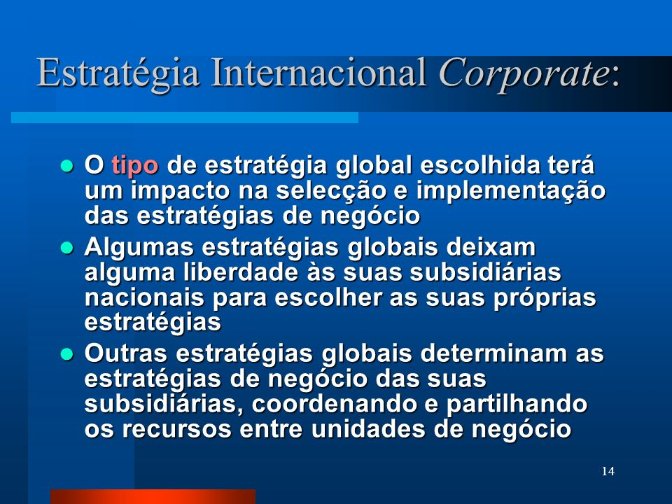 Estratégia Internacional Corporate: