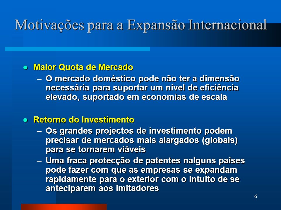 Motivações para a Expansão Internacional