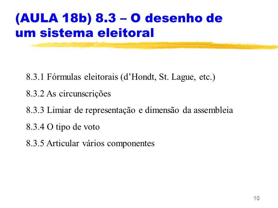 (AULA 18b) 8.3 – O desenho de um sistema eleitoral