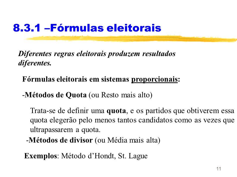 8.3.1 –Fórmulas eleitorais Diferentes regras eleitorais produzem resultados diferentes. Fórmulas eleitorais em sistemas proporcionais: