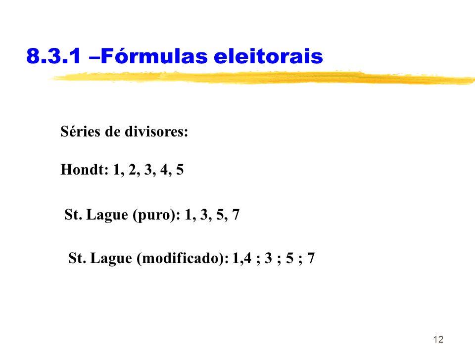 8.3.1 –Fórmulas eleitorais Séries de divisores: Hondt: 1, 2, 3, 4, 5