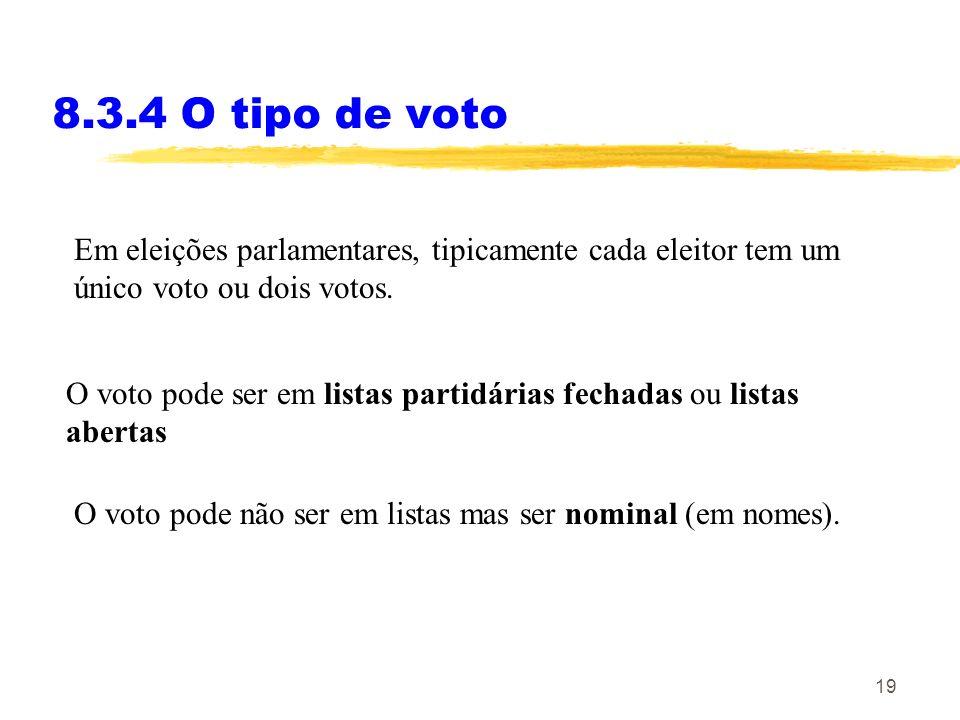 8.3.4 O tipo de votoEm eleições parlamentares, tipicamente cada eleitor tem um único voto ou dois votos.