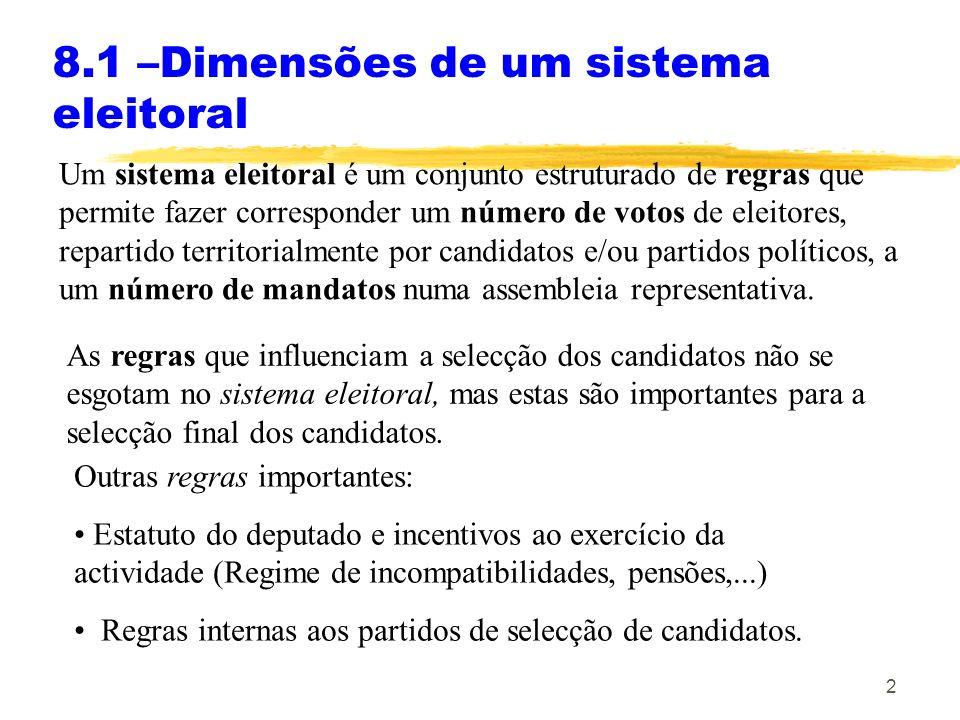 8.1 –Dimensões de um sistema eleitoral