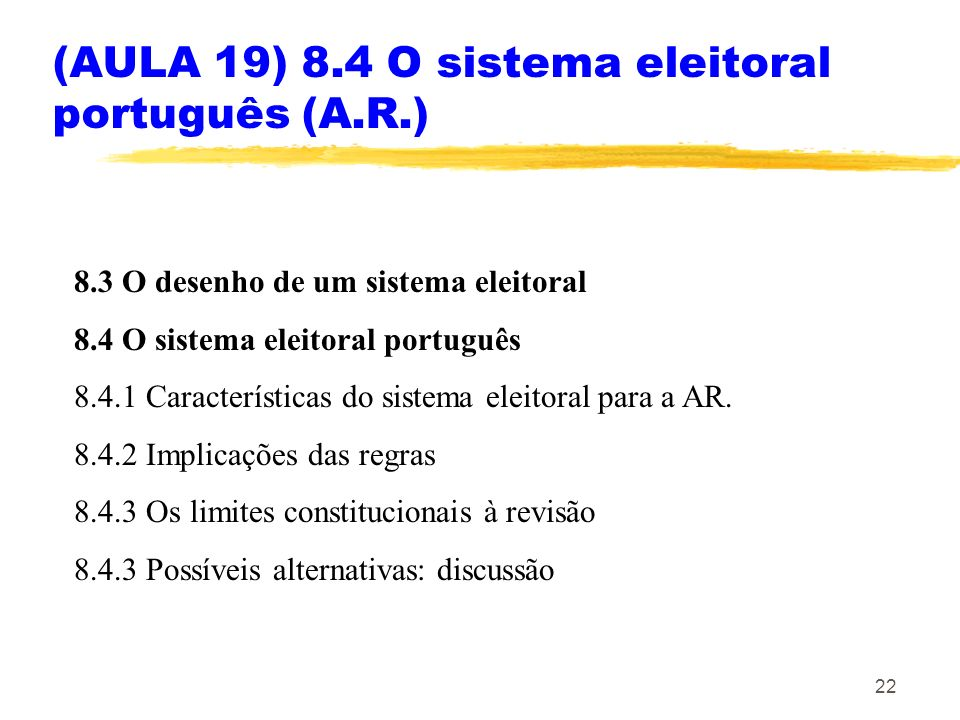 (AULA 19) 8.4 O sistema eleitoral português (A.R.)