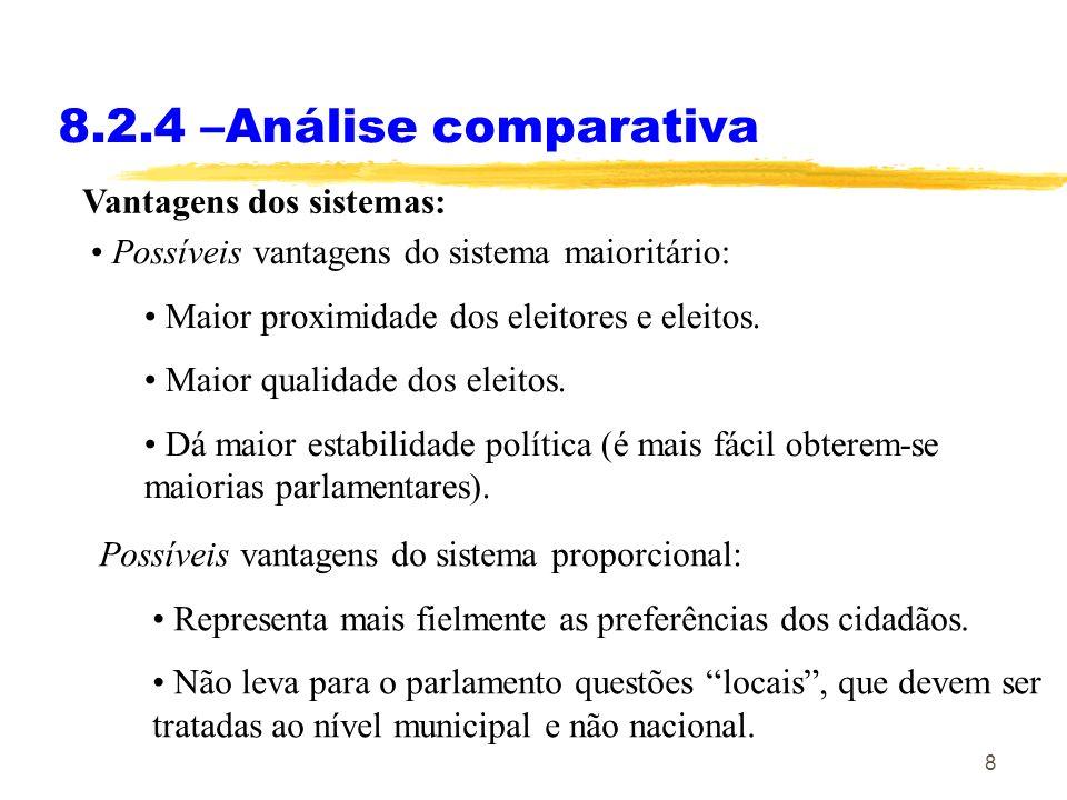 8.2.4 –Análise comparativa Vantagens dos sistemas: