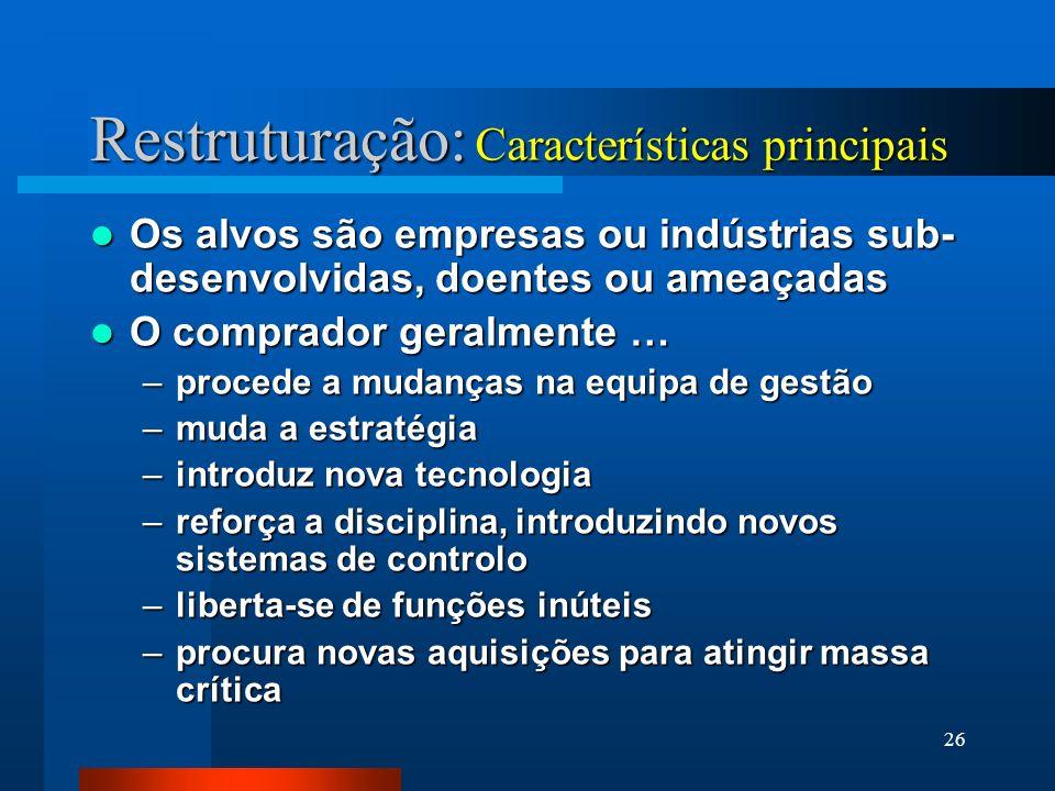Restruturação: Características principais