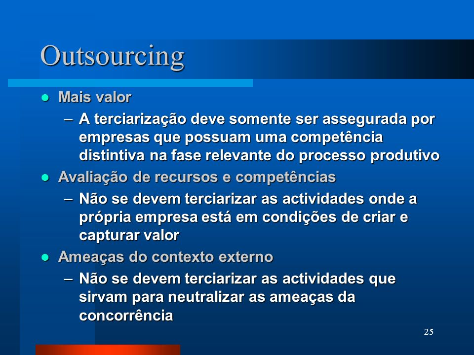 Outsourcing Mais valor