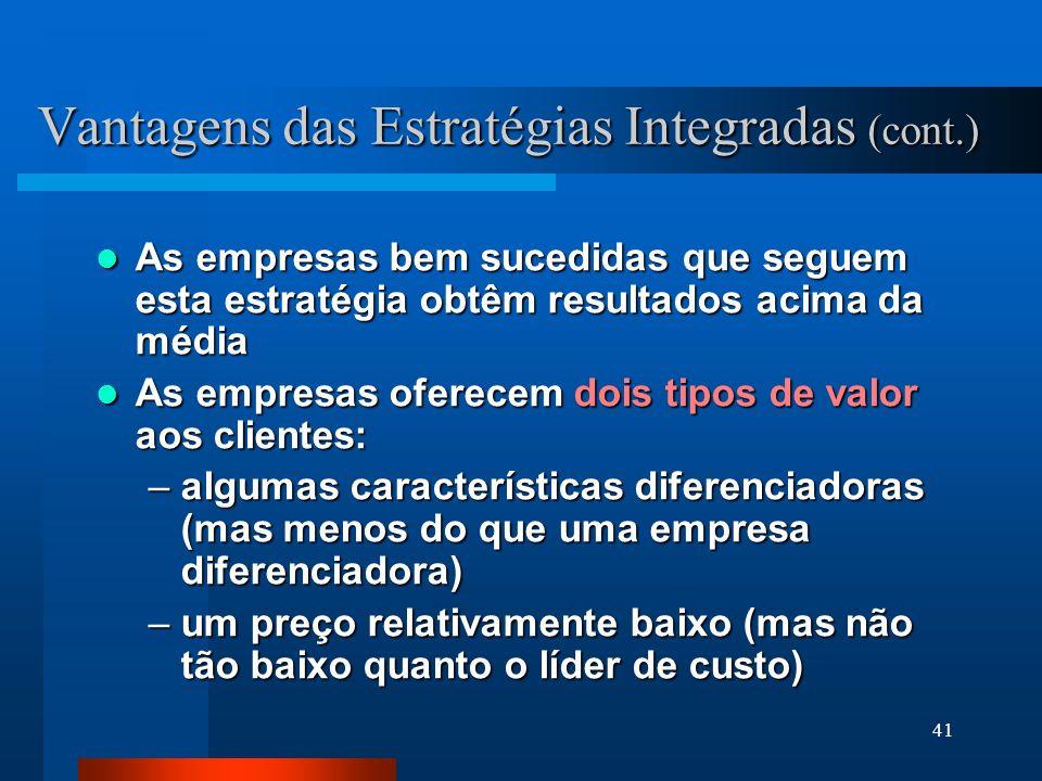 Vantagens das Estratégias Integradas (cont.)
