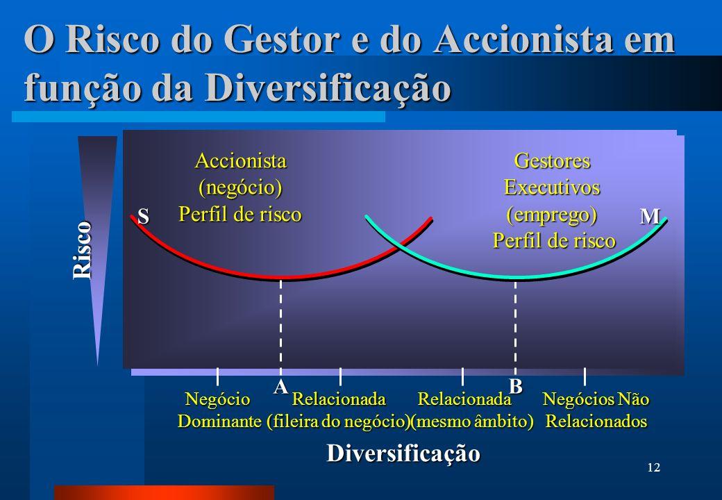 O Risco do Gestor e do Accionista em função da Diversificação
