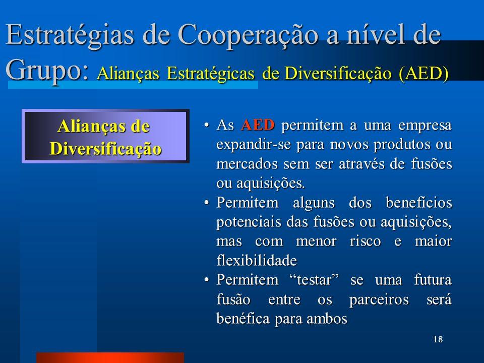 Estratégias de Cooperação a nível de Grupo: Alianças Estratégicas de Diversificação (AED)