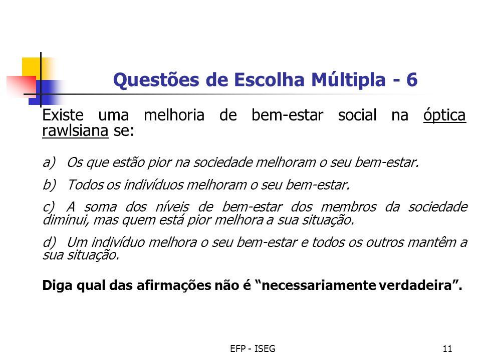 Questões de Escolha Múltipla - 6