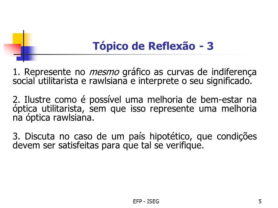 Tópico de Reflexão - 3 1. Represente no mesmo gráfico as curvas de indiferença social utilitarista e rawlsiana e interprete o seu significado.