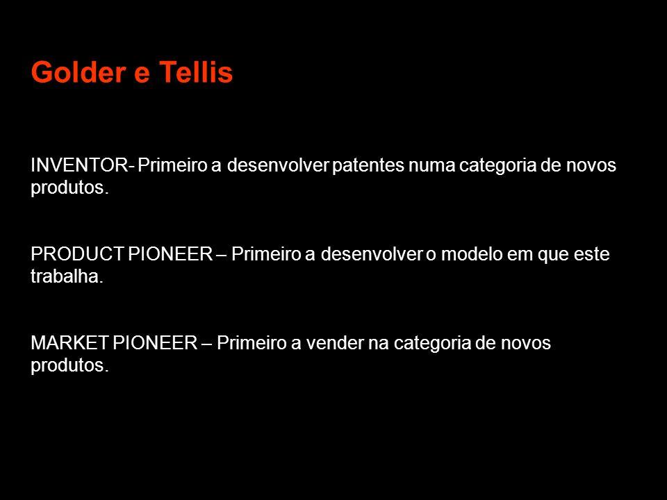 Golder e Tellis INVENTOR- Primeiro a desenvolver patentes numa categoria de novos produtos.