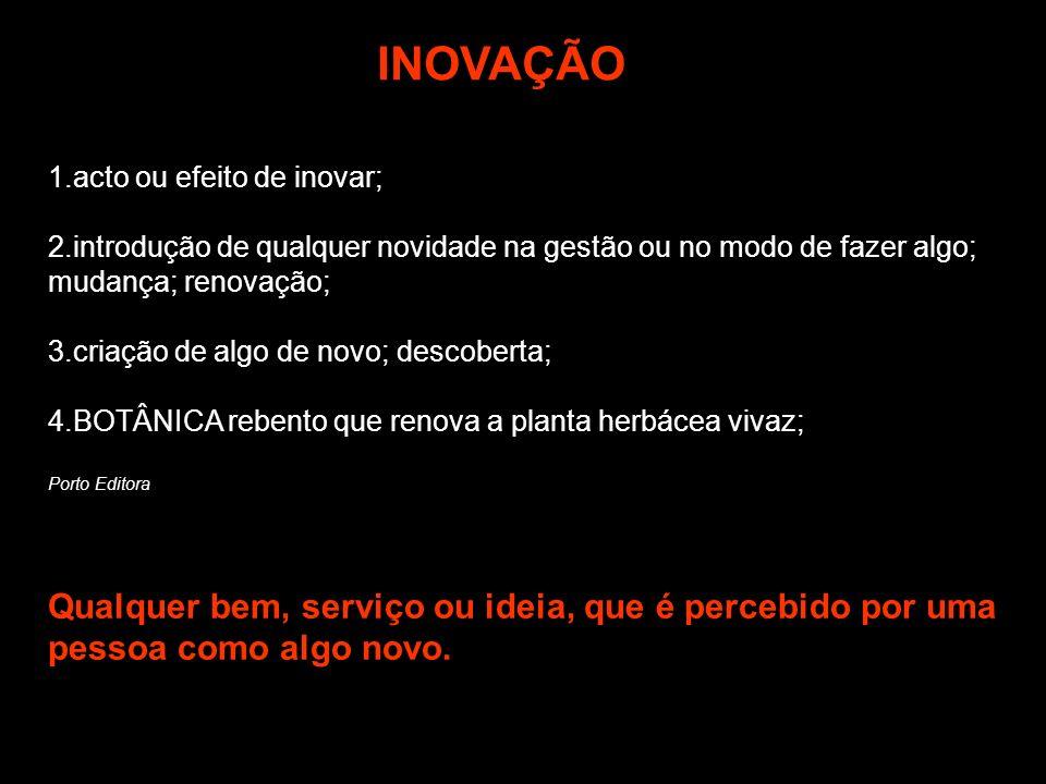 INOVAÇÃO 1.acto ou efeito de inovar; 2.introdução de qualquer novidade na gestão ou no modo de fazer algo; mudança; renovação;