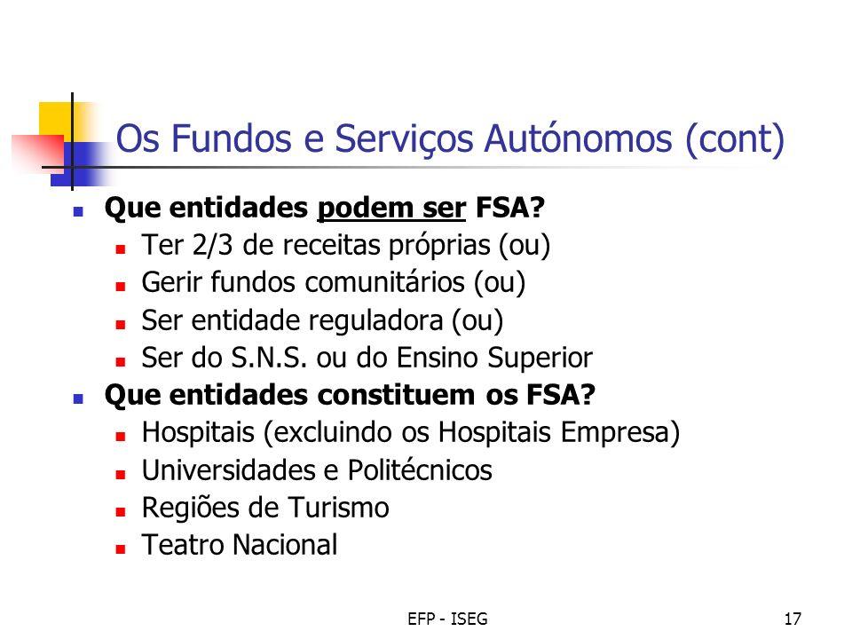 Os Fundos e Serviços Autónomos (cont)