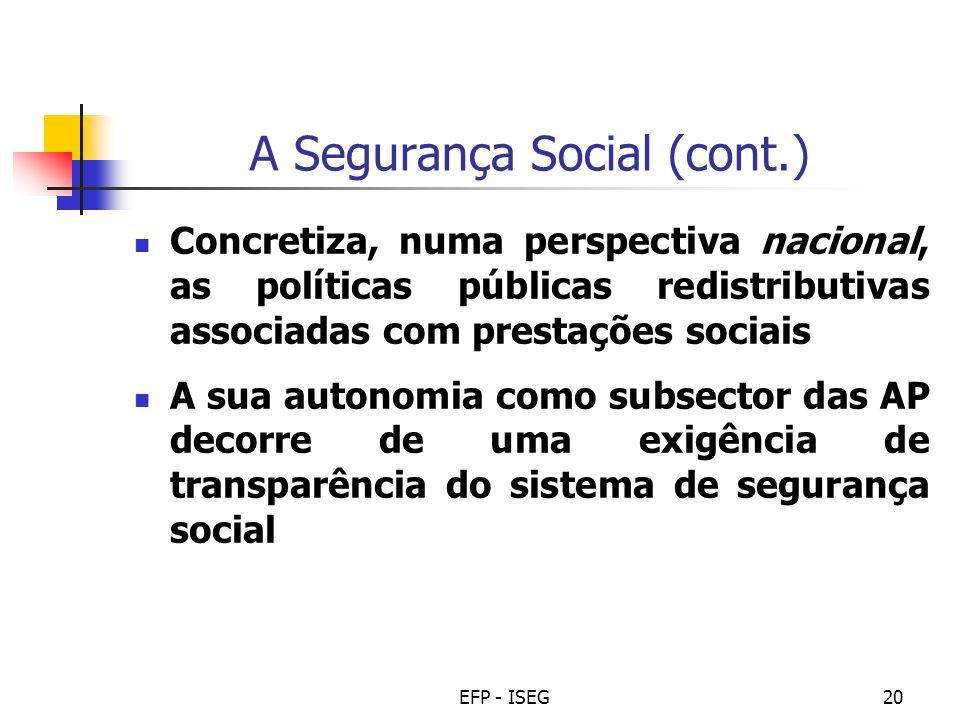 A Segurança Social (cont.)