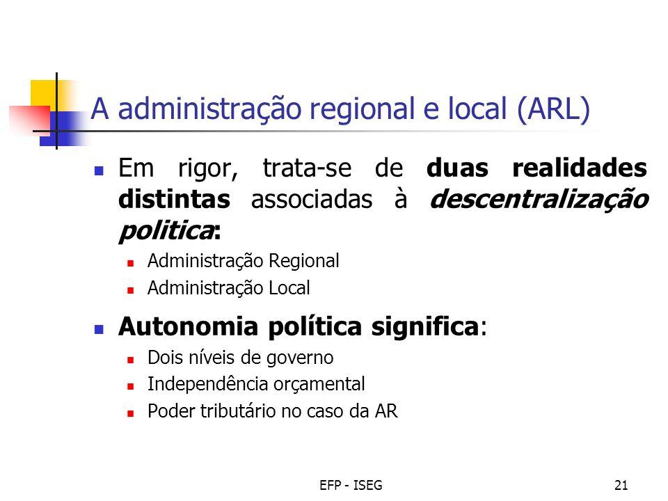 A administração regional e local (ARL)